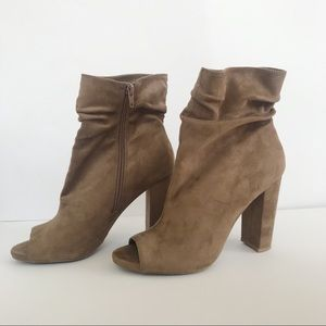 Shoes - Taupe Peep Toe Booties size 8.5